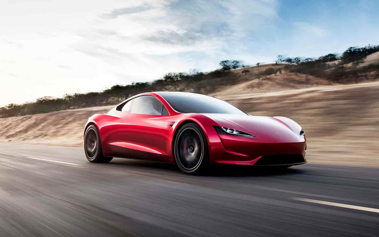 tesla roadster rouge